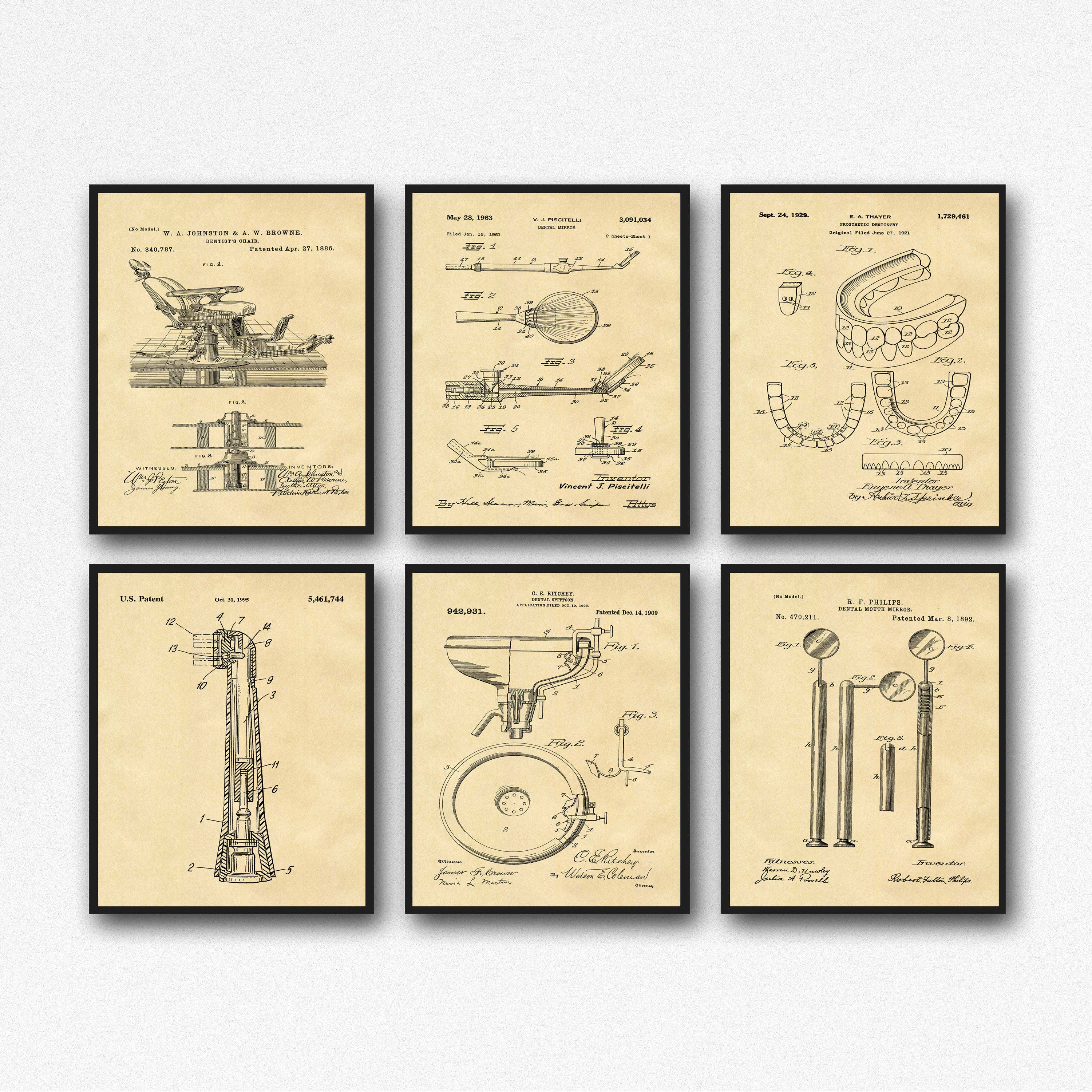 Dentistry Inventions Dentist Patent Prints Set of 6 Dentist Posters ...