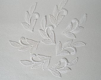 light ivory off white lace set of 8 leaves