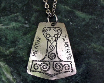 Thors Hammer Necklace, Mjolnir, Eagle Head - Etched Stainless Steel on Chain, Viking Runes - May Thor Protect You