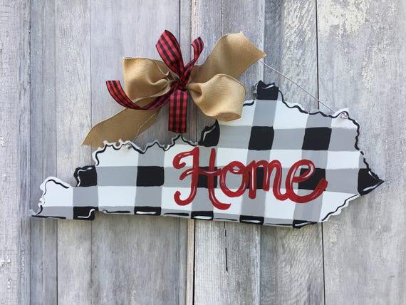 Kentucky door hanger, State, door hanger, buffalo check Kentucky, black and white state sign, home sign, door hanger, state pride sign
