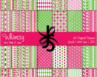 Digital Scrapbook Papers-Hot Pink-Lime Green-Whimsical Patterns-Whimsy-Patchwork-Preppy-Backgrounds-Cards-Crafts-Instant Download Clip Art