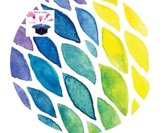 1 cabochon clear 20mm watercolor theme