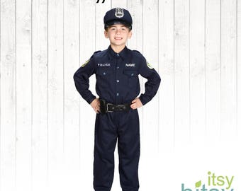 Kids Halloween Costume Police Officer Costume Personalized Police Uniform Dress Up Career Day Outfit Police Officer Outfit SWAT Helmet
