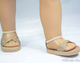 American Girl, 18 inch doll SANDALS SHOES Flipflops in Gold and Silver Sparkle with Ankle Strap
