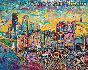 Bike Race art, Cycling art, Bicycle wall art, Pittsburgh, Kitchen art, Modern wall art, Metal prints, Pittsburgh Artist, Johno Prascak