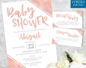 Baby Shower Invitation, Diaper Card, Book for Baby, Rose Gold, Metallic, Gold, Baby Shower, Printable, Custom Invitation, Digital Files Only