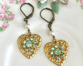 dangle earrings with crystal paradise shine Swarovski crystals in heart shape brass filigree and antique brass lever backs #1076-17