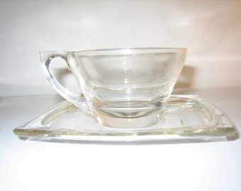 Vintage Square Clear Glass Cup and Saucer