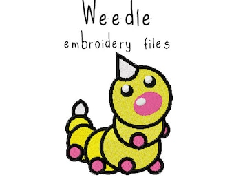 Pokemon Weedle EMBROIDERY MACHINE FILES pattern design hus jef pes dst all formats Instant Download digital applique kawaii cute