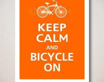 Keep Calm and BICYCLE ON Typography Bike Art Print