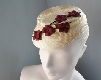 Womens Cocktail Hat Natural  Straw Flowers Wedding Formal Races