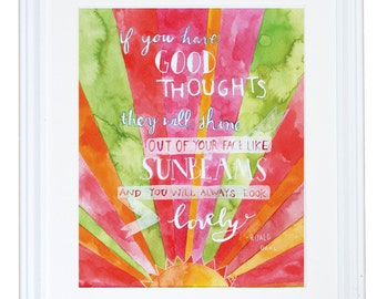Roald Dahl Quote, Think Good Thoughts, Inspirational Wall Art, Watercolor Art Print, Meera Lee Patel