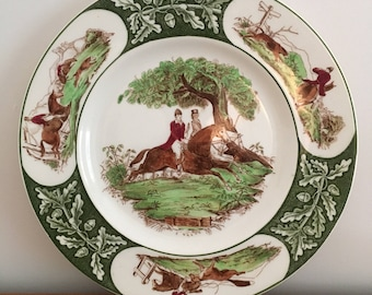 Vintage Clarice Cliff Royal Staffordshire Horse and Fox Hunting Plate