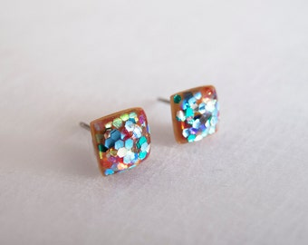 Multicolor Sparkly Square Stud Earrings - Hypoallergenic Surgical Steel Posts