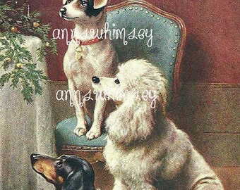 Dogs At Christmas Restored Art Print #453