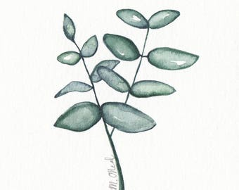 Original 4 x 4 inch watercolor painting of a plant