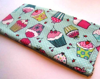 Cupcakes on Teal - Apple or Samsung Wireless Keyboard Sleeve - Padded and Zipper Closure