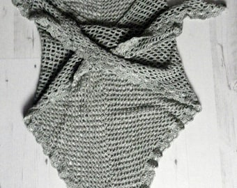 Winter shawl crochet lace gray-green