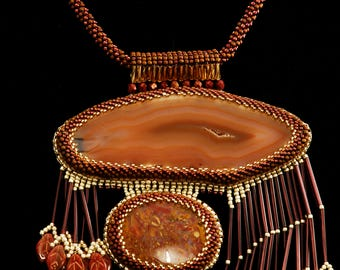 Jasper Agate Bead Embroidered Kumihimo Necklace