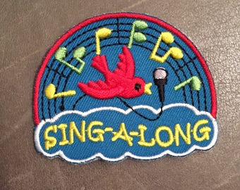 Sing a long Merit Badge karaoke bird song musical notes camaraderie togetherness harmony Scout Patch