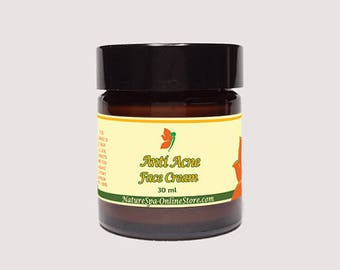Organic Anti Acne Solid Face Cream for blemished skin, breackouts with Tea Tree Essential oil help to restore the skin, keeps bacteria away