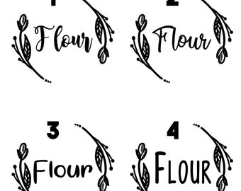 Floral Pantry Labels - Set of 6 - Kitchen and Pantry Organization
