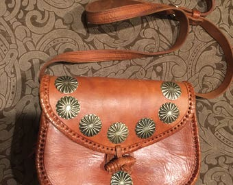 Vintage Western Leather Whip Stitched Silver Concho Brown Purse Handbag