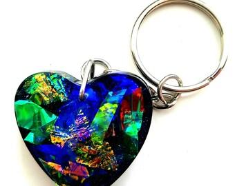 Dichro Film Keychain, Glitter Keychain, Birthday Gift, Womens Gift, Faux Opal, Cool Keychain, Valentine's Gift, Resin Keychain