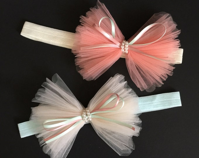 Tulle Bow Headband,Large bow Baby Headband,Ruffle bow,baby shower gift,first birthday,birthday girl,1 year birthday,flower girl,peach bow