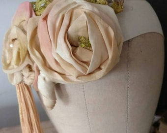 Victorian Tea  Rose Bridal Head Piece in Butter Cream and Pink Blush