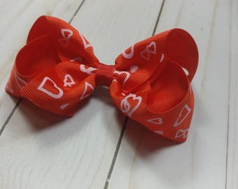 Red Valentine's Day bow. Pink and red hearts Valentine's Day bow. Photography prop. Girls Valentine's Day bow. Hearts hair bow. Hair bow.