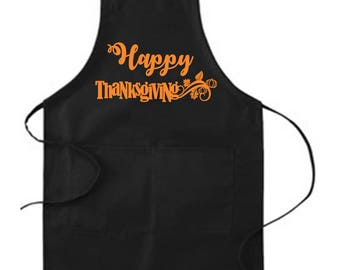 Happy Thanksgiving Apron, Chef Apron, Thanksgiving Apron, Gift for Mom, Canvas Apron, Autumn, Mom, Chef, Loves to cook