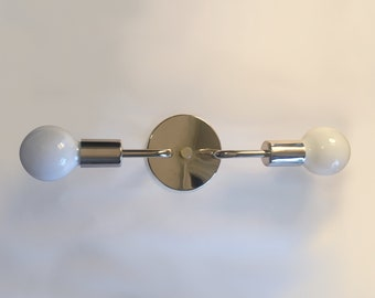 Double Sconce • Roy • Polished Nickel Wall Sconce • Midcentury Modern Wall Light • Bathroom Sconce • Silver Sconce