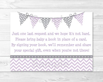 Cute Purple Chevron Baby Shower Book Request Cards / Chevron Pattern/ Purple & Grey / Books For Baby / Printable INSTANT DOWNLOAD A213