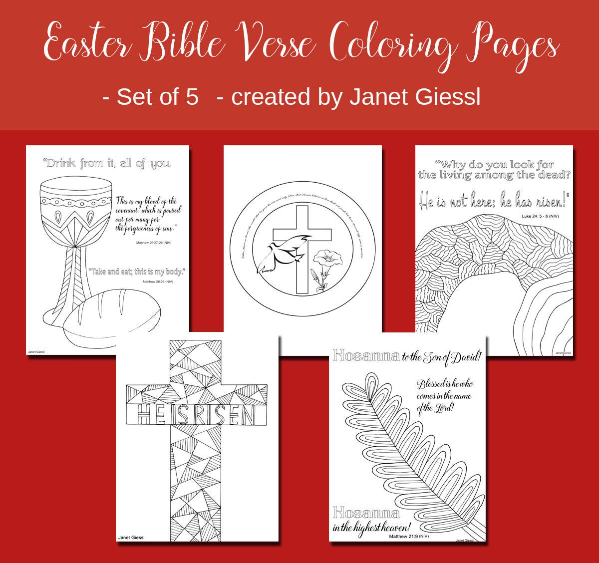 Easter Bible Verse Coloring Pages Set of 5