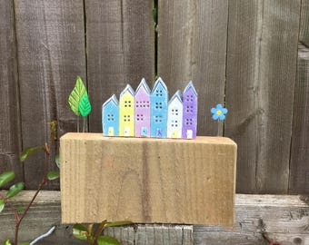 Tiny houses, row of colourful terraced clay houses with trees and a flower mounted on wood, house warming gift.
