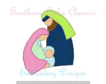Nativity Christmas Story Newborn King  Manger Baby Jesus Blanket Applique Design File for Embroidery Machine Instant Download Mary Joseph
