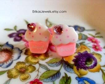 Pink Cupcake Stud Earrings - Small - 14 mm