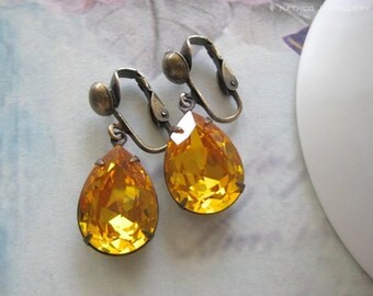 Stella - Estate Style Yellow Crystal Clip On Earrings - Created with Sunflower crystals from Swarovski® Bridesmaid Earring - Holiday gift.