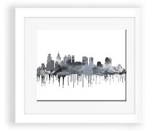 Philadelphia skyline, Philadelphia poster ,Philadelphia  map, Philadelphia print, Philadelphia  wall art, Philadelphia watercolor, black