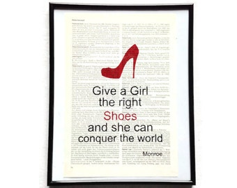 Girls conquer the world shoes high heels vintage art print encyclopedia art print encyclopedia old book pages