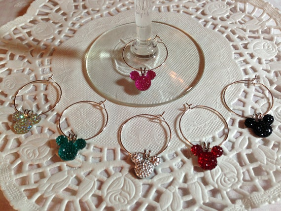 Disney Rehearsal Mouse Ears Wine Charms in Bright Colors Home Barware Shower Gift Original Creator Mouse Ears Collection 2012