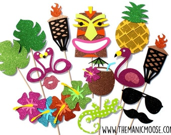 Hawaiian Photo Booth Props ~ 14 Piece Prop Set ~ GLITTER Photobooth Props ~ Props Come Fully Assembled