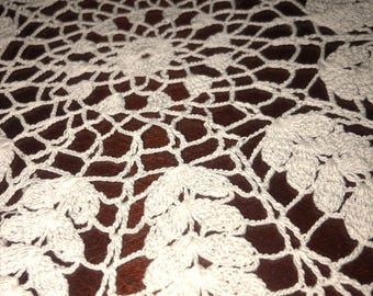 Hand stitched vintage doily table runner
