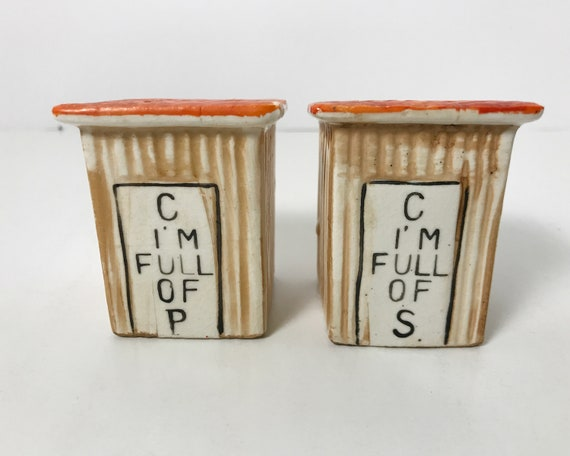 Vintage Outhouse Salt and Pepper Shakers - C I'm Full of P - Gag Gift