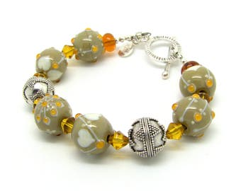 Lampwork and sterling silver handmade Bracelet
