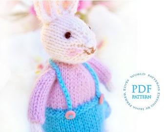 Easter bunny Toy knitting pattern-knitted rabbit pattern-Amigurumi-ElvesWorld toy-knit patterns-little bunny pattern-white bunny