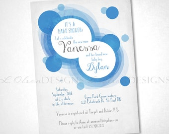Soft Dots Blue Baby Shower or Special Event Invite - DIY Printable