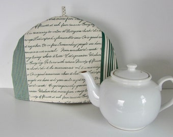 Fabric tea cozy, Cotton fabric cozy, Lined teapot warmer, Patchwork print fabric, Green and linen