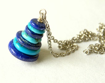 Turquoise and Lapis Cairn Necklace - Sleeping Beauty Mine American Turquoise and Lapis Stacked Stone Pendant Necklace